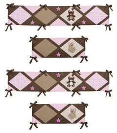 Pink Teddy Bear Collection Crib Bumper by Sweet Jojo Designs