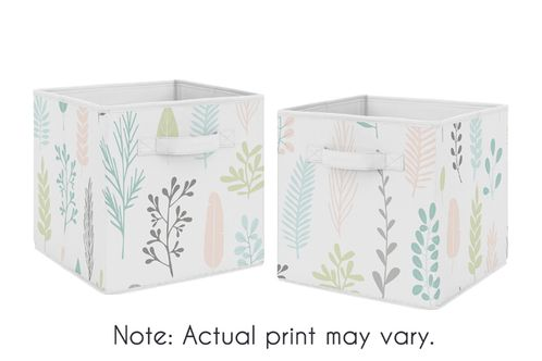 Pink Tropical Leaf Foldable Fabric Storage Cube Bins Boxes Organizer Toys Kids Baby Childrens by Sweet Jojo Designs - Set of 2 - for the Blush, Turquoise, Grey and Green Botanical Rainforest Jungle Sloth Collection - Click to enlarge