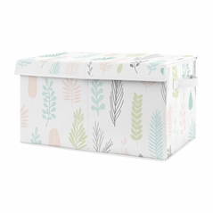 Pink Tropical Leaf Girl Small Fabric Toy Bin Storage Box Chest For Baby Nursery or Kids Room by Sweet Jojo Designs - Blush, Turquoise, Grey and Green Botanical Rainforest Jungle for the Sloth Collection