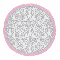 Pink, Turquoise and Gray Damask and Polka Dot Playmat Tummy Time Baby and Infant Play Mat for Skylar Collection by Sweet Jojo Designs