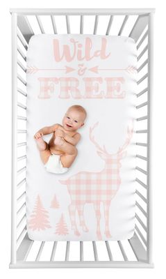 Pink Woodland Deer Girl Fitted Crib Sheet Baby or Toddler Bed Nursery Photo Op by Sweet Jojo Designs - Blush and White Buffalo Plaid Check Shabby Chic Rustic Country Farmhouse