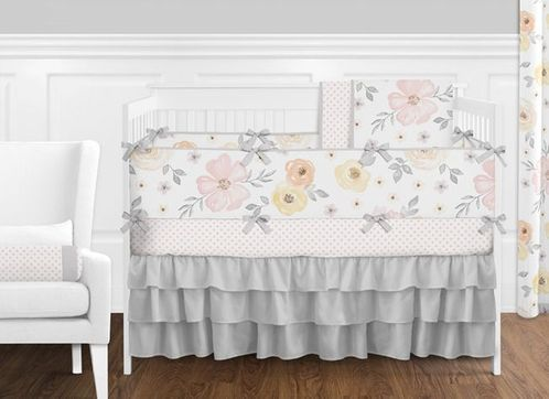 Pink, Yellow and Grey Shabby Chic Watercolor Floral Baby Girl Nursery Crib Bedding Set with Bumper by Sweet Jojo Designs - 9 pieces - Blush, Peach, Gray and White Rose Flower Polka Dot - Click to enlarge