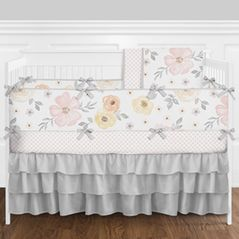 Pink, Yellow and Grey Shabby Chic Watercolor Floral Baby Girl Nursery Crib Bedding Set with Bumper by Sweet Jojo Designs - 9 pieces - Blush, Peach, Gray and White Rose Flower Polka Dot