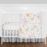 Pink, Yellow and Grey Shabby Chic Watercolor Floral Baby Girl Nursery Crib Bedding Set without Bumper by Sweet Jojo Designs - 4 pieces - Blush, Peach, Gray and White Rose Flower Polka Dot