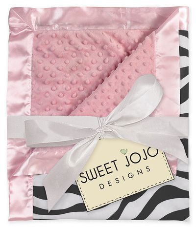 Pink & Zebra Print  Minky Dot Chenille and Satin Baby Blanket by Sweet Jojo Designs - Click to enlarge