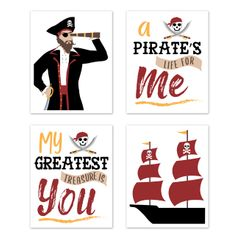 Pirate Ship Wall Art Prints Room Decor for Baby, Nursery, and Kids by Sweet Jojo Designs - Set of 4 - Red, Black and Gold Nautical Boat