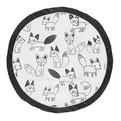 Playmat Tummy Time Baby and Infant Play Mat for Black and White Fox Collection by Sweet Jojo Designs