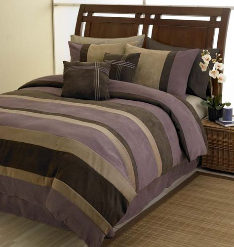 Plum Jacaranda Striped Bedding Microsuede 6pc Bed in a Bag - Click to enlarge