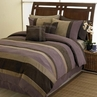 Plum Jacaranda Striped Bedding Microsuede 6pc Bed in a Bag
