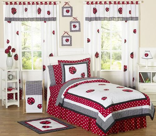 Polka Dot Ladybug Childrens Bedding - 3 pc Full / Queen Set - Click to enlarge