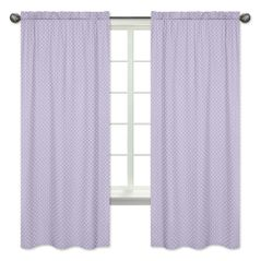 Polka Dot Window Treatment Panels for Lavender Purple, Black and White Sloane Collection - Set of 2