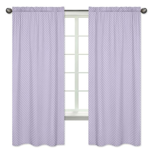 Polka Dot Window Treatment Panels for Lavender Purple, Black and White Sloane Collection - Set of 2 - Click to enlarge