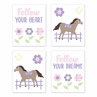 Pony Floral Wall Art Prints Room Decor for Baby, Nursery, and Kids by Sweet Jojo Designs - Set of 4 - Purple, Pink, Yellow and Green Flower Farm Horse Plaid