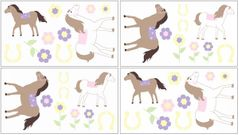 Pink and Purple Pretty Pony Peel and Stick Wall Decal Stickers Art Nursery Decor by Sweet Jojo Designs - Set of 4 Sheets