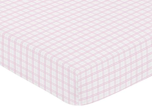 Pretty Pony Fitted Crib Sheet for Baby and Toddler Bedding Sets by Sweet Jojo Designs - Pink Plaid Print - Click to enlarge