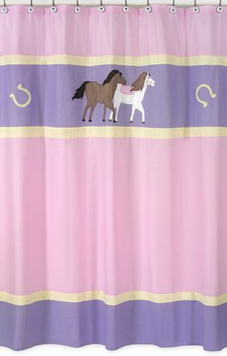 Pretty Pony Horse Kids Bathroom Fabric Bath Shower Curtain - Click to enlarge