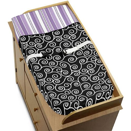 Purple and Black Kaylee Baby Changing Pad Cover by Sweet Jojo Designs - Click to enlarge