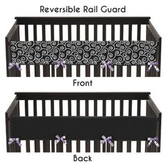 Purple and Black Kaylee Baby Crib Long Rail Guard Cover by Sweet Jojo Designs