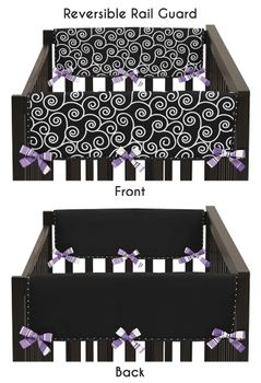 Purple and Black Kaylee Baby Crib Side Rail Guard Covers by Sweet Jojo Designs - Set of 2
