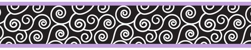 Purple and Black Kaylee Children and Kids Modern Wall Border by Sweet Jojo Designs - Click to enlarge