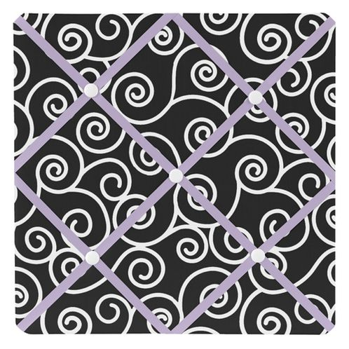 Purple and Black Kaylee Fabric Memory/Memo Photo Bulletin Board by Sweet Jojo Designs - Click to enlarge