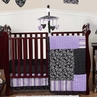 Purple and Black Kaylee Girls Boutique Baby Bedding - 11pc Crib Set