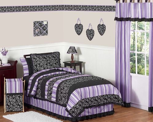 Purple and Black Kaylee Girls, Childrens & Kids Bedding - 4pc Twin Set by Sweet Jojo Designs - Click to enlarge