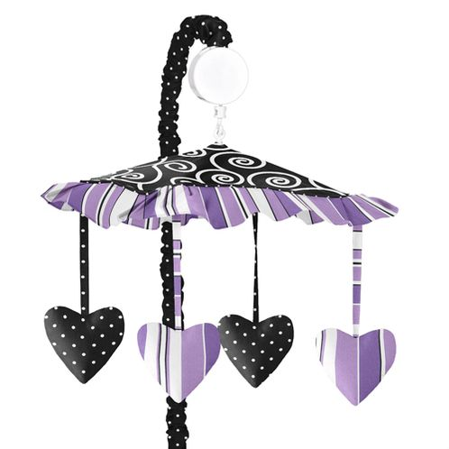 Purple and Black Kaylee Musical Baby Crib Mobile by Sweet Jojo Designs - Click to enlarge