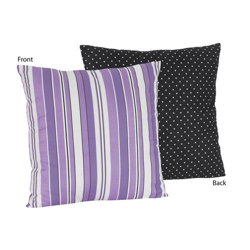 Purple and Black Stripes/Dots Kaylee Decorative Accent Throw Pillow by Sweet Jojo Designs - Click to enlarge