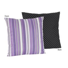 Purple and Black Stripes/Dots Kaylee Decorative Accent Throw Pillow by Sweet Jojo Designs