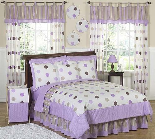 Elegant Purple And Brown Modern Dots Teen Bedding   3 Pc Full / Queen Set   Click