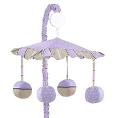Purple and Brown Mod Dots Musical Crib Mobile by Sweet Jojo Designs