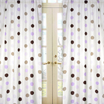 Purple and Brown Mod Dots Window Treatment Panels - Set of 2