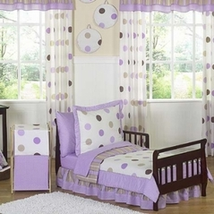 Purple and Brown Modern Polka Dots Toddler Bedding - 5pc set