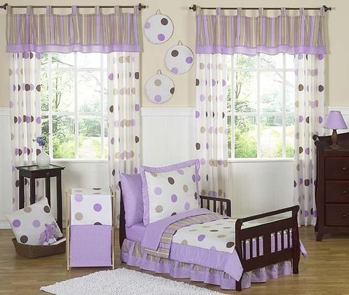 Purple and Brown Modern Polka Dots Toddler Bedding - 5pc set - Click to enlarge
