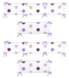 Purple and Chocolate Mod Dots Collection Crib Bumper by Sweet Jojo Designs