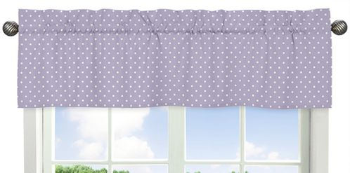 Purple and White Polka Dot Window Valance for Sloane Collection - Click to enlarge