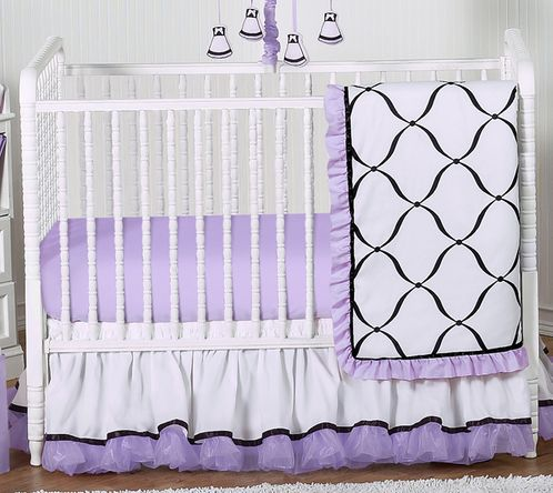 Purple, Black and White Princess Baby Bedding - 11pc Crib Set - Click to enlarge