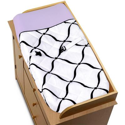 Purple, Black and White Princess Baby Changing Pad Cover by Sweet Jojo Designs - Click to enlarge