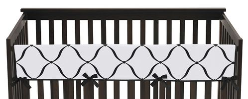 Purple, Black and White Princess Baby Crib Long Rail Guard Cover by Sweet Jojo Designs - Click to enlarge