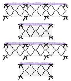 Purple Black and White Princess Collection Crib Bumper by Sweet Jojo Designs