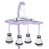 Purple, Black and White Princess Musical Baby Crib Mobile by Sweet Jojo Designs