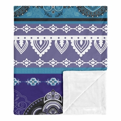 Purple Boho Chic Baby Girl Blanket Receiving Security Swaddle for Newborn or Toddler Nursery Car Seat Stroller Soft Minky by Sweet Jojo Designs - Teal Turquoise Blue Plum Black and White Bohemian Colorful Mandala Vintage Patterned Retro Hippie Hipster