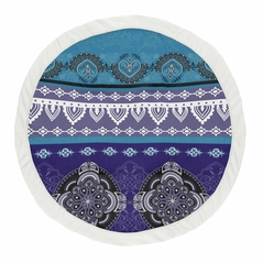 Purple Boho Chic Girl Baby Playmat Tummy Time Infant Play Mat by Sweet Jojo Designs - Teal Turquoise Blue Plum Black and White Bohemian Colorful Mandala Vintage Patterned Retro Hippie Hipster