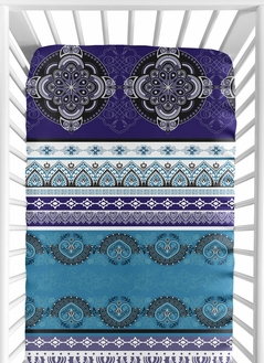 Purple Boho Chic Girl Fitted Crib Sheet Baby or Toddler Bed Nursery by Sweet Jojo Designs - Teal Turquoise Blue Plum Black and White Bohemian Colorful Mandala Vintage Patterned Retro Hippie Hipster