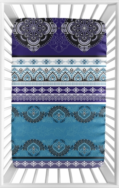 Purple Boho Chic Girl Fitted Mini Crib Sheet Baby Nursery by Sweet Jojo Designs For Portable Crib or Pack and Play - Teal Turquoise Blue Plum Black and White Bohemian Colorful Mandala Vintage Patterned Retro Hippie Hipster