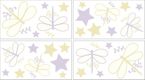 Purple Dragonfly Dreams Peel and Stick Wall Decal Stickers Art Nursery Decor by Sweet Jojo Designs - Set of 4 Sheets - Click to enlarge