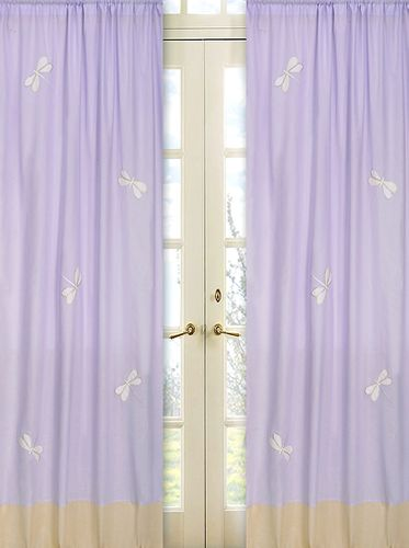 Purple Dragonfly Dreams Window Treatment Panels - Set of 2 - Click to enlarge