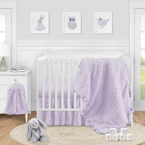 Purple Floral Rose Baby Girl Nursery Crib Bedding Set by Sweet Jojo Designs - 4 pieces - Solid Light Lavender Flower Luxurious Elegant Princess Vintage Boho Shabby Chic Luxury Glam High End Ruffle Roses - Click to enlarge