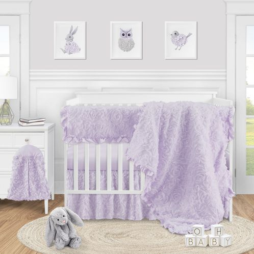 Purple Floral Rose Baby Girl Nursery Crib Bedding Set by Sweet Jojo Designs - 5 pieces - Solid Light Lavender Flower Luxurious Elegant Princess Vintage Boho Shabby Chic Luxury Glam High End Ruffle Roses - Click to enlarge
